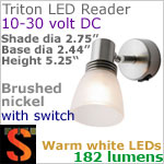 12 volt LED Reading Lights (10-30vdc) - Triton 1501, brushed nickel with glass alabaster globe and 182 lumens WARM White LED Bulb