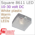 12 volt LED Utility Lights (10-30vdc) - Square 8611, WHITE plastic with rocker Switch, with 140 lumens WARM White LED Bulb