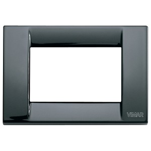 Vimar Idea Square Cover Plate, Die-Cast Metal, Black 11, 3 Modules, Vimar
