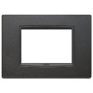 Vimar Eikon Square Cover Plate, Bright Matte Anthracite, 3 Modules, Vimar