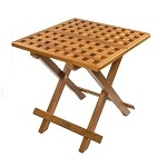 SeaTeak Teak Grate Top Fold-Away Table