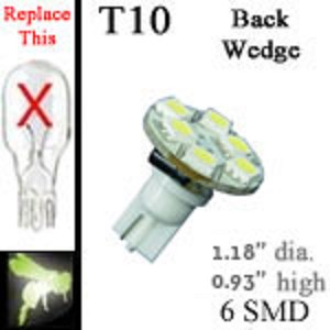 12 volt LED Bulbs | 6 SMD | T10 Wedge Back Entry