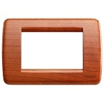 Vimar Idea Round Cover Plate, Wood, Cherry 53, 3 Modules, Vimar