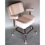 Upholstered Captain's Chair with Portable Stainless Steel Stand