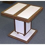 Compact Square, Adjustable Teak Table with Poly Finish