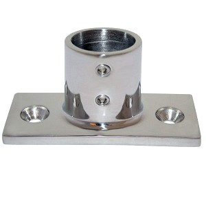 "Whitecap ⅞"" O.D. 90° 2-Hole Rectangle Base SS Rail Fitting"
