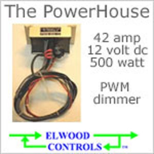 12 volt Dimmer (9-20vdc) - The PowerHouse, 12 volt 42 Amp 500 watt PWM Dimmer, with rotary dial