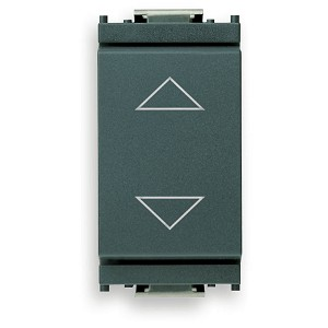 Vimar Idea Momentary Switch with Directional Arrows and Central Off Position [NO+NO], 1P-2T, 10A, 250V, Grey, Vimar