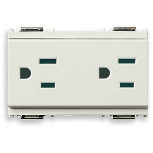 Vimar Idea Outlet, USA-Arabian, Duplex, 2P+E, 15A-127V, 3 Modules, SICURY, Grey, Vimar