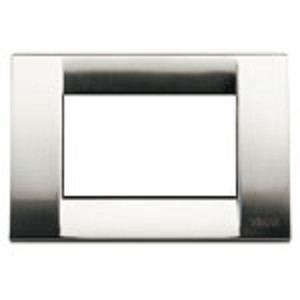 Vimar Idea Square Cover Plate, Die-Cast Metal, Brushed Nickel 34, 3 Modules