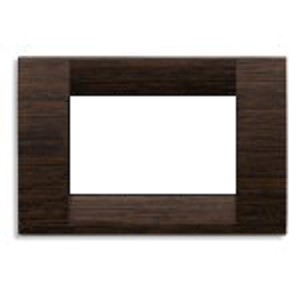 Vimar Idea Square Cover Plate, Wood, Wenge 56, 3 Modules, Vimar