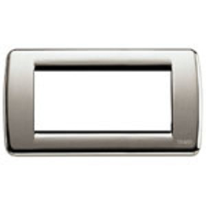Vimar Idea Round Cover Plate, Die-Cast Metal, Brushed Nickel 34, 4 Modules