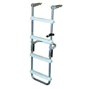JIF Marine 4-Step Folding Pontoon Ladder with Flush Mount | 4 Step Ladder