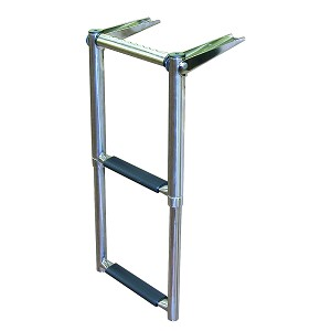 JIF Marine 2-4 Step Over Platform Telescoping Boat Ladder with Hand Grip