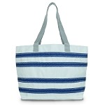 Nautical Stripe Large Striped Tote in Red or Blue