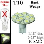 12 volt LED Bulbs | 10 SMD | 921 T10 Wedge Back Entry