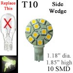12 volt LED Bulbs | 10 SMD | T10 921 Wedge Side Entry