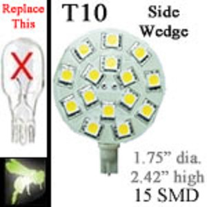 12 volt LED Bulbs | 15 SMD | T10 921 Wedge Side Entry