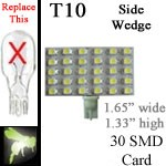 12 volt LED Bulbs | 30 SMD | T10 Wedge Rectangle