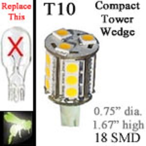 12 volt LED Bulbs | 18 SMD | T10 Wedge Compact Tower