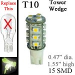 12 volt LED Bulbs | 15 SMD | T10 Wedge Tower