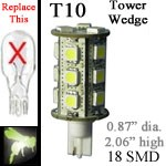 12 volt LED Bulbs | 18 SMD | T10 Wedge Tower