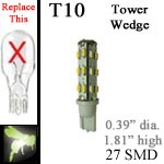 12 volt LED Bulbs | 27 SMD | T10 Wedge Tower