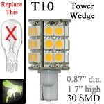 12 volt LED Bulbs | 30 SMD | T10 Wedge Tower