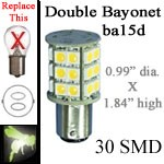 12 volt LED Bulbs | 30 SMD | ba15d Double Bayonet base