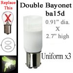 12 volt LED Bulbs | Uniform x3 | ba15d Double Bayonet base