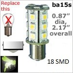 12 volt LED Bulbs | 18 SMD | ba15s Single Bayonet base