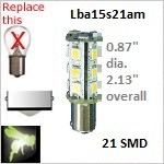 12 volt Tower LED | 21 SMD | Automotive ba15s Single Bayonet