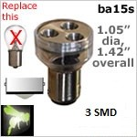 Single Bayonet Disc Style LEDs | 3 SMD | ba15s Socket