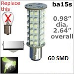 Single Bayonet Tower Style LED | 60 SMD | 12 volt ba15s Bulb