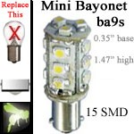 12 volt LED Bulbs | 15 SMD | ba9s miniature Single Bayonet base