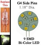 12 volt Bi-Color LED | 9 SMD switchable color | G4 side pins