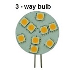 12 Volt, Built-In 3-Way Dimming LED Bulb | G4 Side Pins