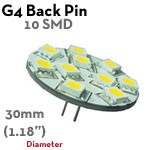 10 SMD G4 Back Pin LED Bulb | 1.5 Watt 10-30 VDC LED