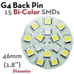 15 SMD G4 Back Pin Bi-Color LED Bulb | 2.4 Watt 10-30 VDC LED