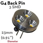 3 SMD G4 Back Pin LED Bulb | 1.2 Watt 10-30 VDC LED