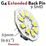 9 SMD Extended G4 Back Pin LED | 1.5 Watt 10-30 VDC LED