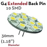 10 SMD Extended G4 Back Pin LED | 1.7 Watt 10-30 VDC LED