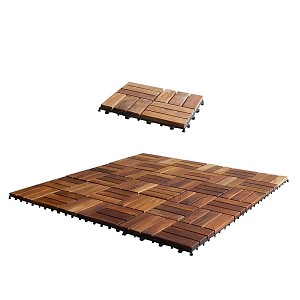 SeaTeak 60029 Interlocking Teak Floor Tiles - 10 Pack