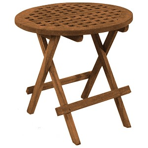 SeaTeak Folding Deck Table, Round-Grate Top, Oiled Finish